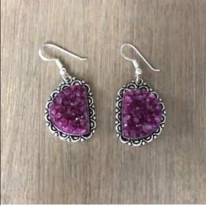 Pink Druzy 925 Silver Earrings